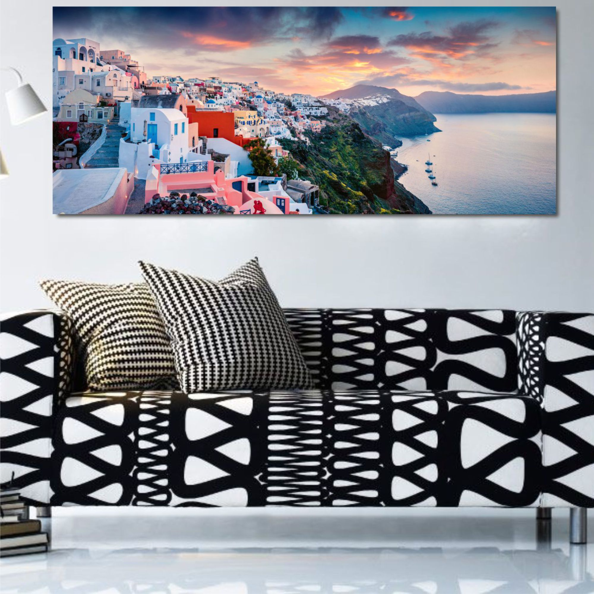 city by the beach wall art canvas print