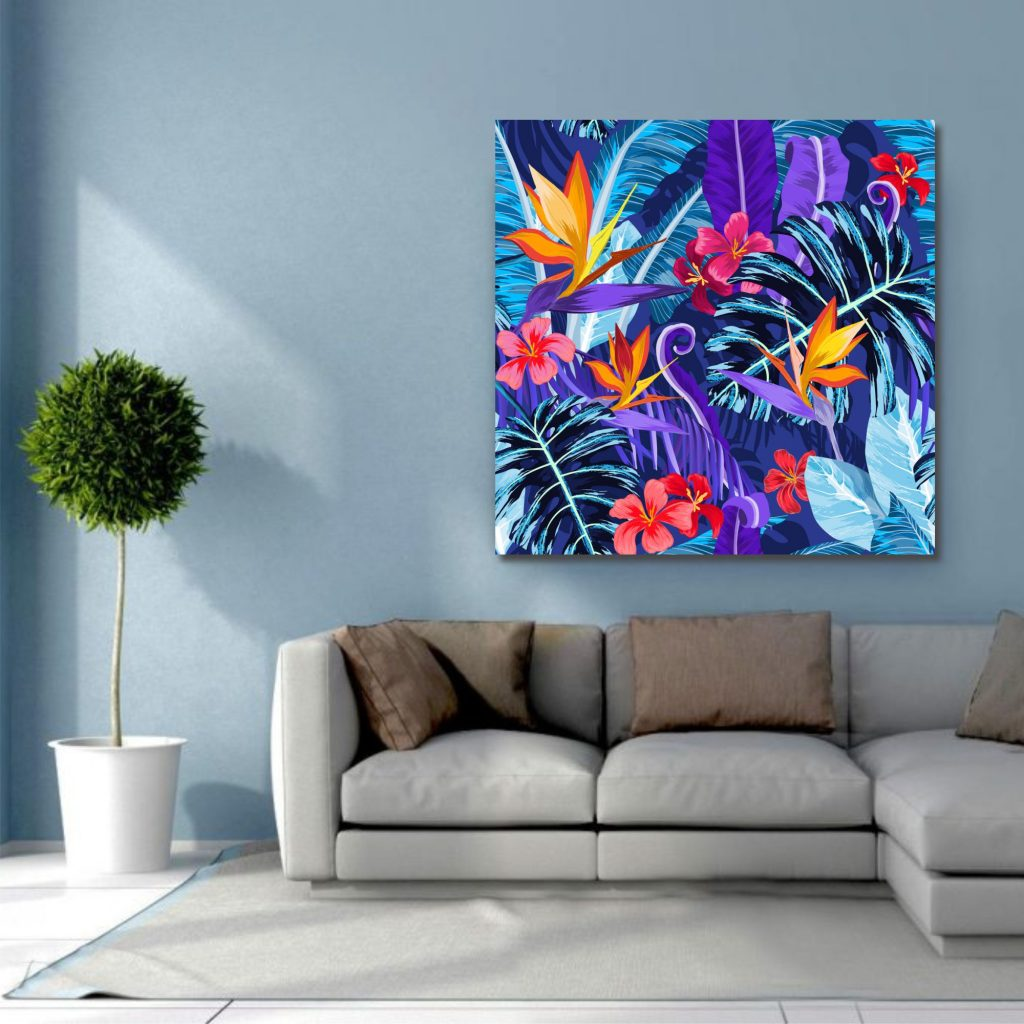 This purple wall art is a great choice for many homes. The colours are beautifully represented to give the home a more vibrant look and feel.