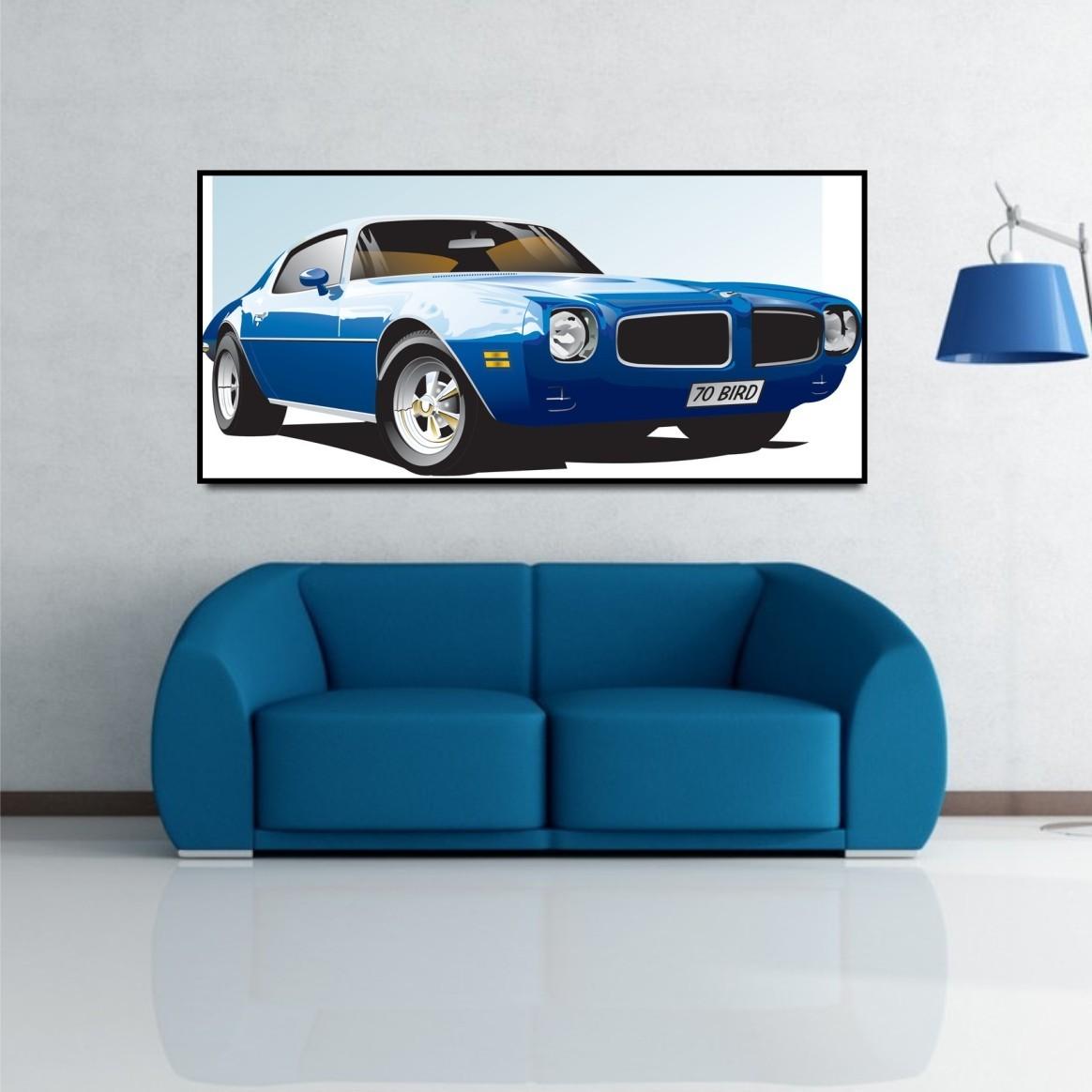 classic firebird american muscle car wall art canvas print