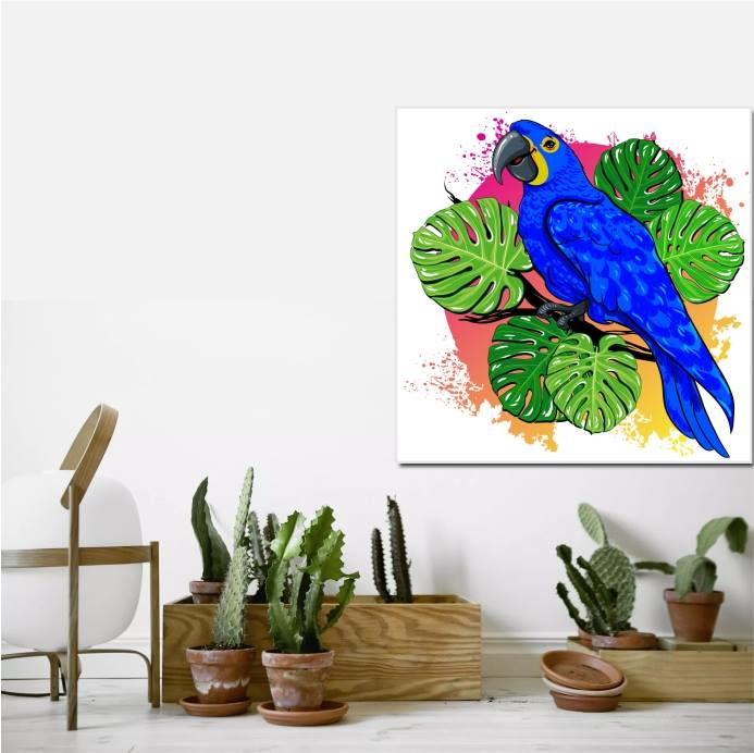 parrot on the tree wall art canvas print