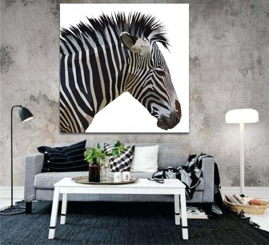 thinking out zebra wall art canvas print