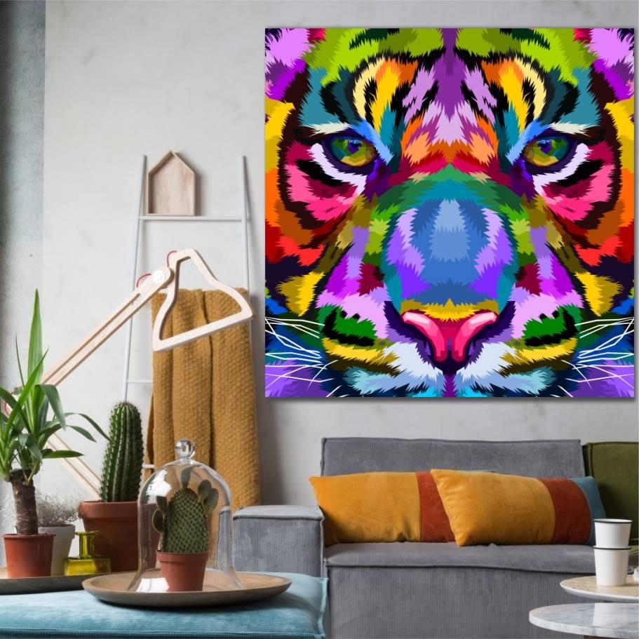 tiger colore wall art canvas print