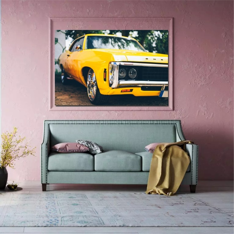 yellow chevrolet wall art canvas print