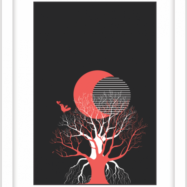 Red moon modern art on either stretched and unstretched canvas, foam board mount and fine art paper print for home decor