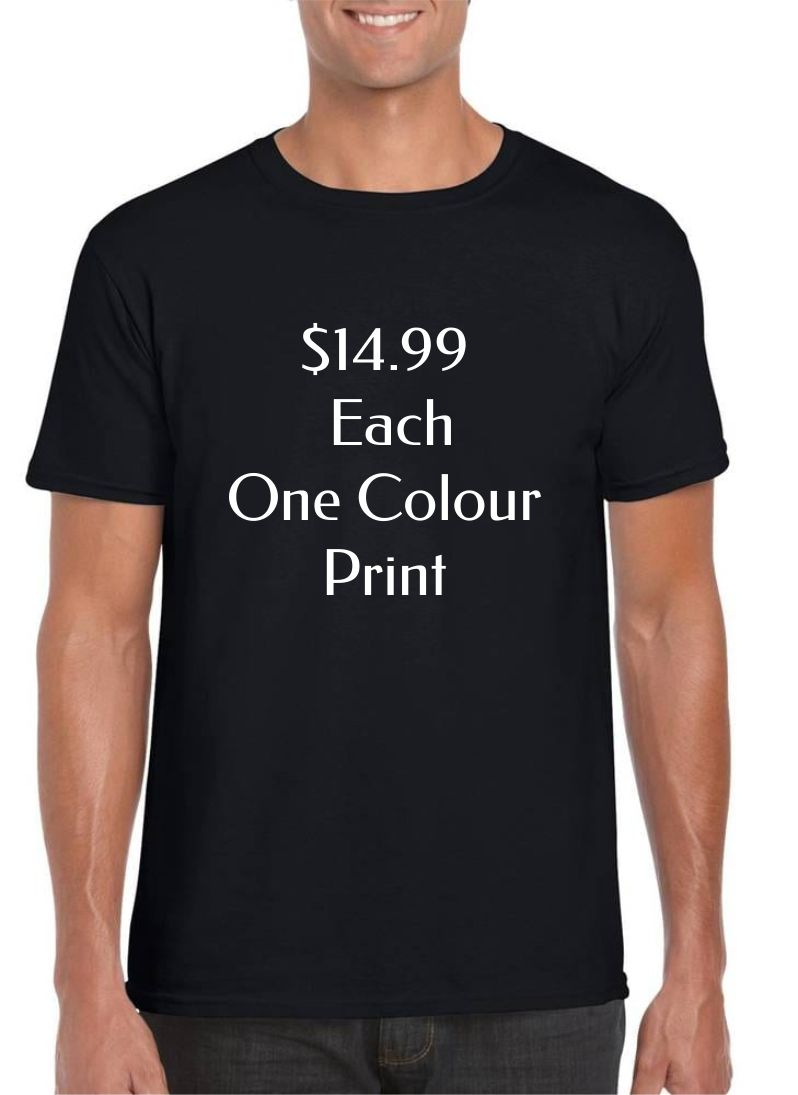 Custom T-shirts at $14.99 each