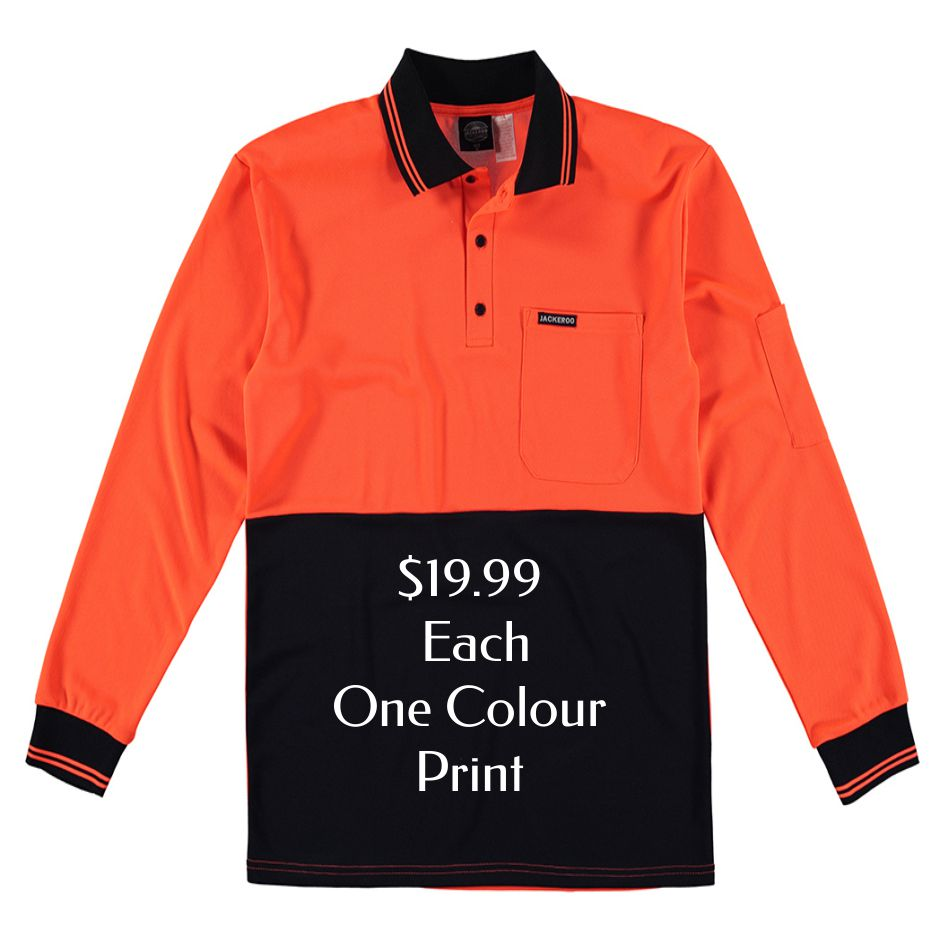 Custom orange fluro polo at $19.99 each