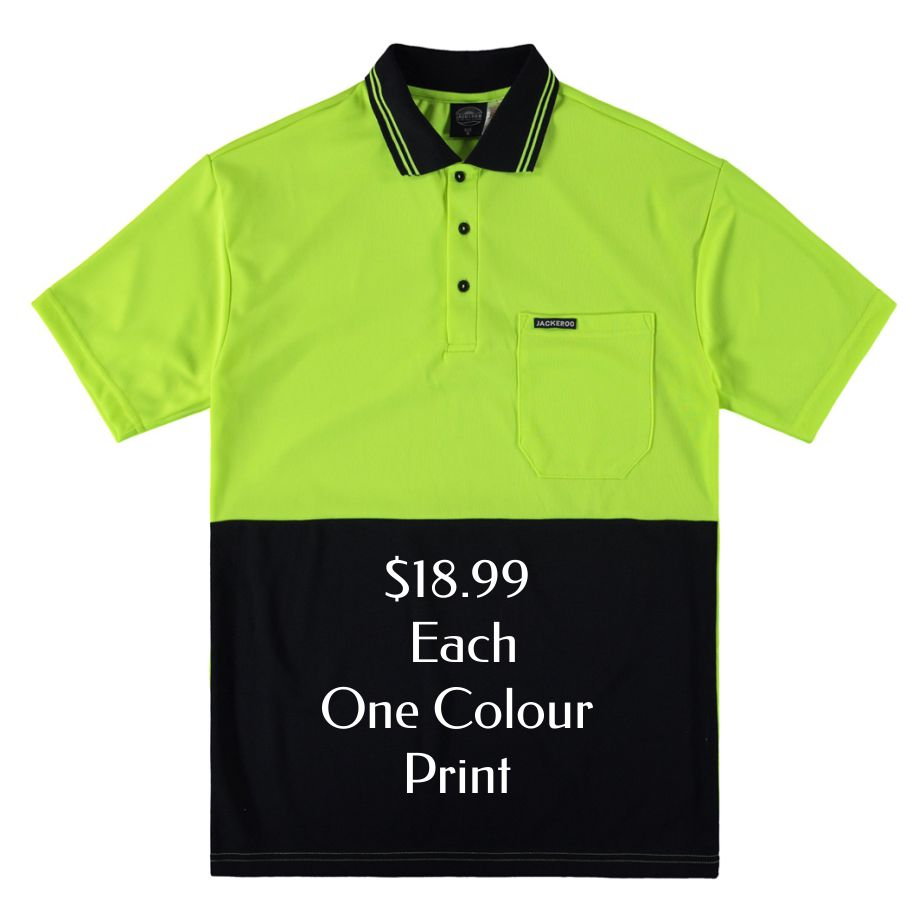 Custom short sleeve yellow fluro at $18.99 each