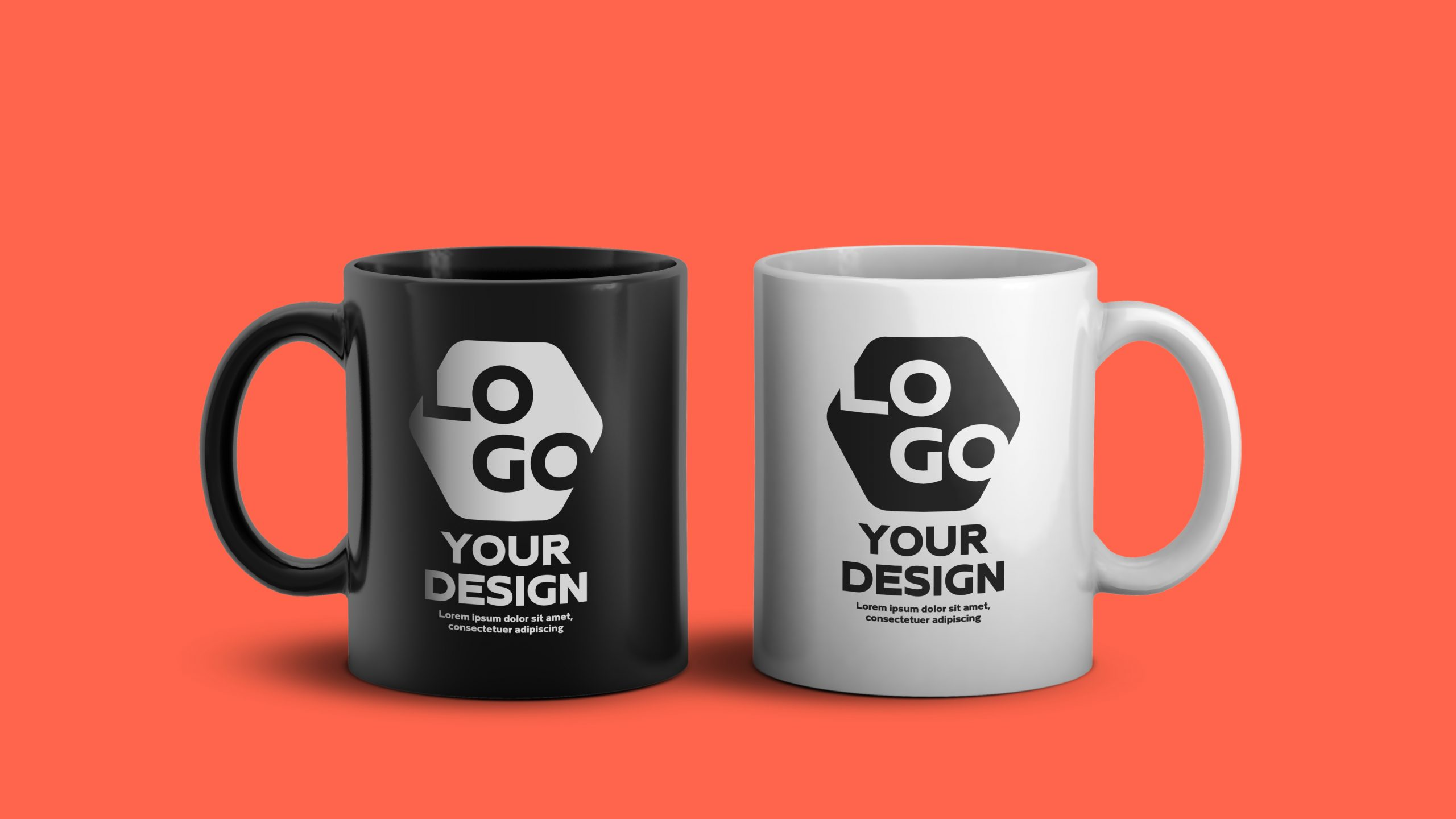 Mockup of white and black ceramic coffee mug PSD (Changeable background color)